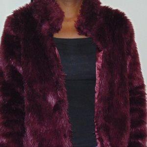 Jackets & Blazers - Burgundy Faux Fur